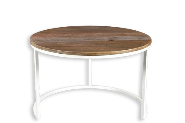 2er set couchtisch holz und metall design tische. Black Bedroom Furniture Sets. Home Design Ideas