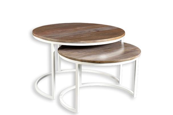 2er Set Couchtisch Holz und Metall Design