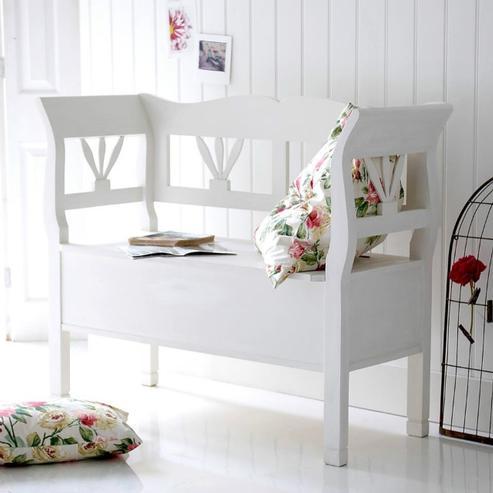 bank wei landhausstil mit klappe sitzb nke landhaus. Black Bedroom Furniture Sets. Home Design Ideas
