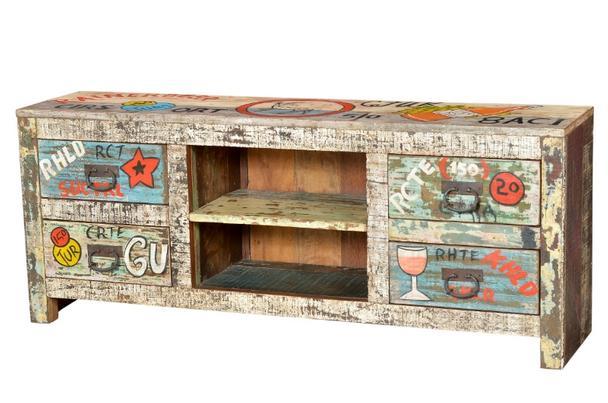 Bemaltes Tv Sideboard Aus Indien Shabby Chic Vintage Sideboard Bei