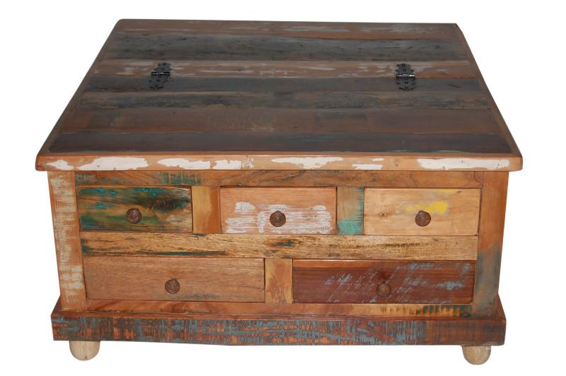 couchtisch altes holz mit schubladen tische vintage m bel bei m belhaus hamburg. Black Bedroom Furniture Sets. Home Design Ideas