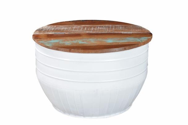 Couchtisch eisentonne mit fach wei tisch industrial bei for Couchtisch mit fach
