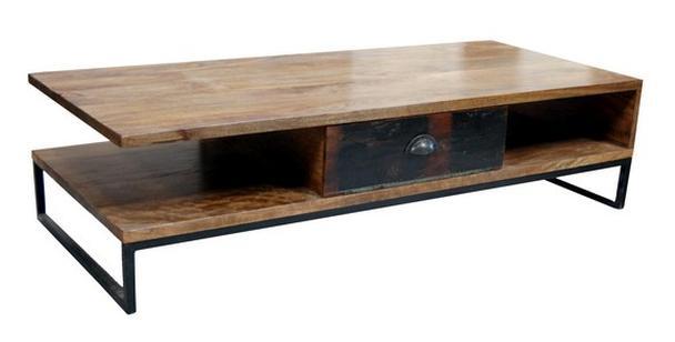 Couchtisch mit Eisen Untergestell industriell  Tische