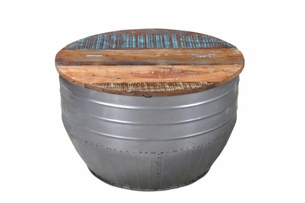 Couchtisch mit fach eisentonne mit holzplatte tisch for Couchtisch mit fach
