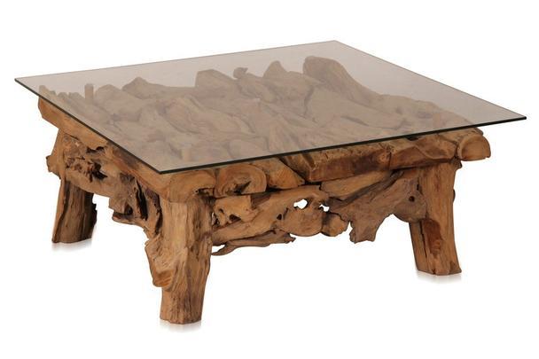 Teakholz couchtisch mit glasplatte  Couchtisch Root mit Glas - Tische - Teak Möbel bei Möbelhaus Hamburg