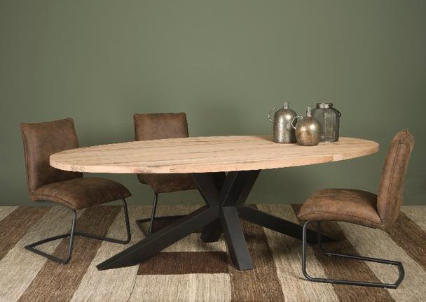 Esstisch Oval Industriell Eiche Eisen Untergestell Tisch