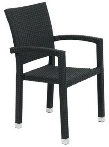 Gartenstuhl schwarz mit Armlehnen Polyrattan Gartenmöbel ...