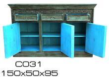 gr n blaue kommode aus indien highboards kommoden sideboards massivholz m bel bei. Black Bedroom Furniture Sets. Home Design Ideas