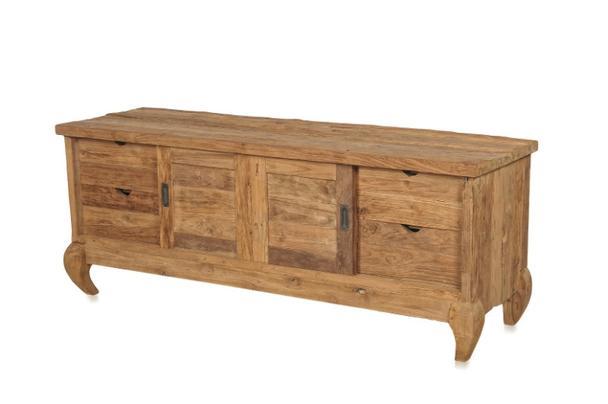 Holz TV Lowboard mit 2 Schiebetüren und 4 Schubladen - Kommoden ...