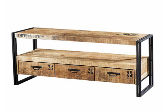 industrial chic tv sideboard mit schubladen kommoden sideboards industrielle m bel bei. Black Bedroom Furniture Sets. Home Design Ideas