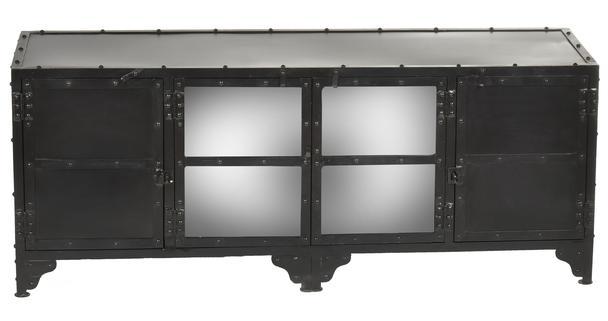 Industrie Stil TV Sideboard Metall mit Glastüren - Industrial ...