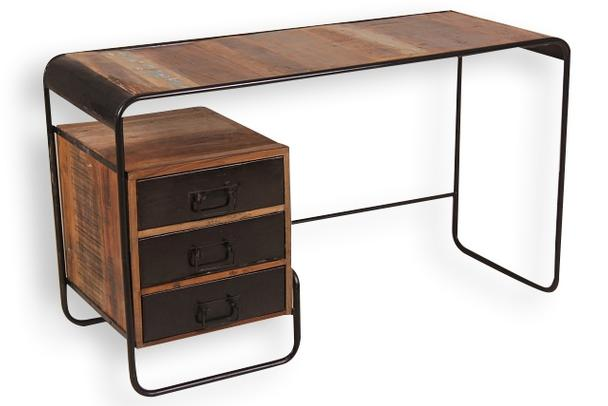 Design Gartenmobel Wetterfest : industrieller Schreibtisch aus Holz und Eisen bei Möbelhaus Hamburg