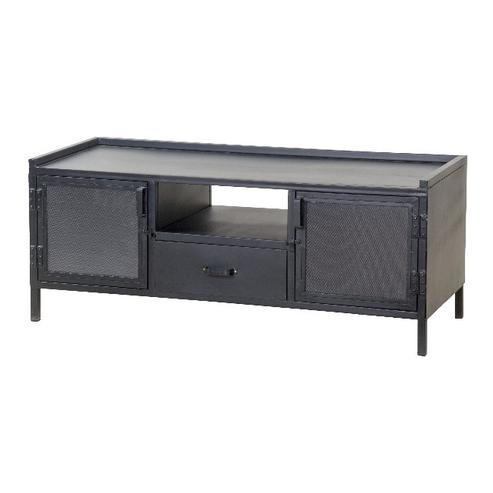 industrielles tv sideboard aus metall schwarz kommoden sideboards industrielle m bel bei. Black Bedroom Furniture Sets. Home Design Ideas