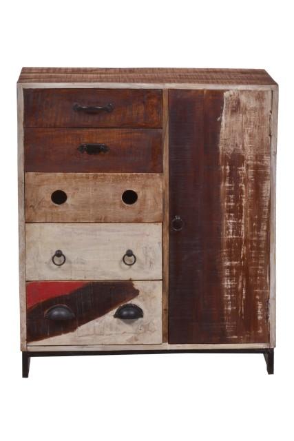 kommode aus holz mit eisen untergestell kommoden sideboards industrielle m bel bei. Black Bedroom Furniture Sets. Home Design Ideas