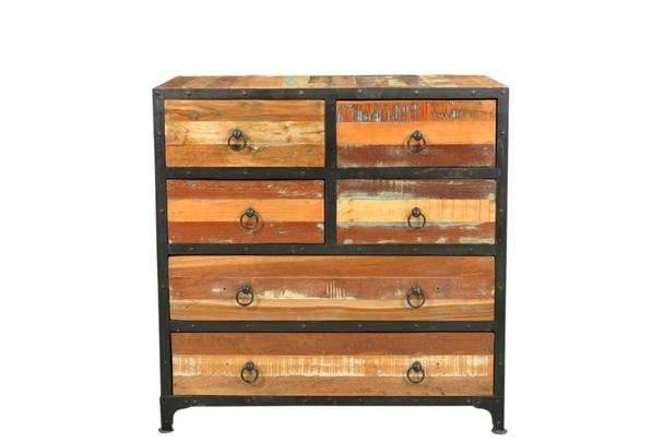 Kommode mit 6 Schubladen Recycling Holz - Kommoden & Sideboards ...