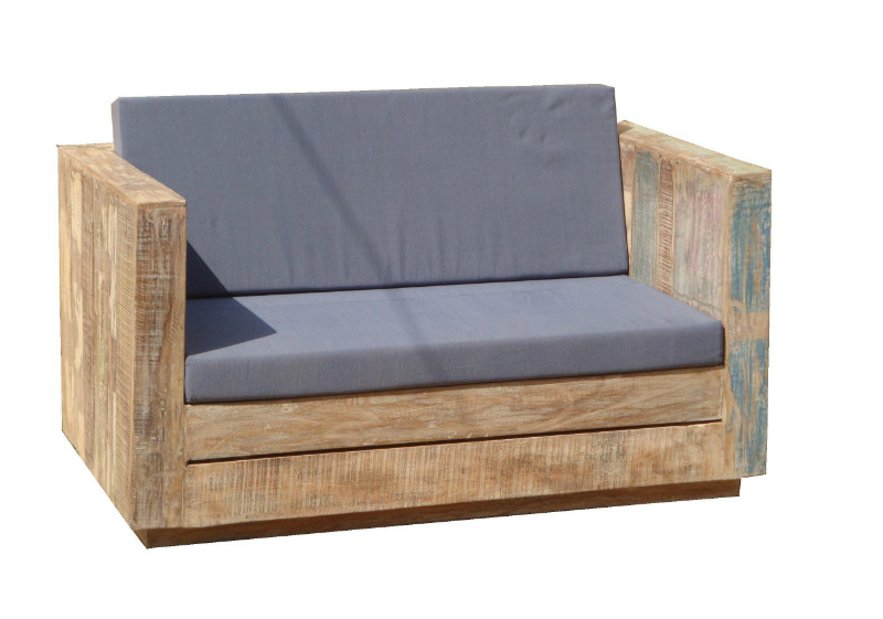 loungesofa f r den garten mit kissen teakholz gartenm bel gartenm bel nach material garten. Black Bedroom Furniture Sets. Home Design Ideas
