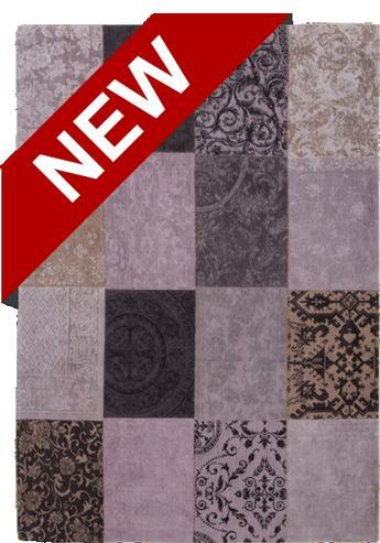 Patchwork Teppich Lila/Grau