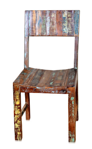Recycling holz stuhl ohne armlehnen bunt sofas sessel for Holzstuhl bunt
