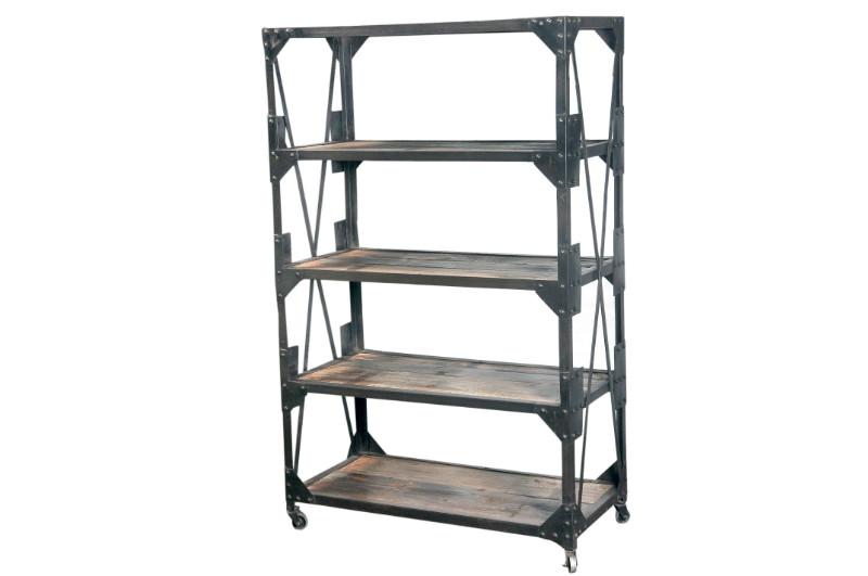 regal industrial chic aus eisen und holz schrank bei. Black Bedroom Furniture Sets. Home Design Ideas