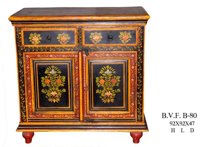 schrank indisch bemalt kommoden sideboards vintage. Black Bedroom Furniture Sets. Home Design Ideas