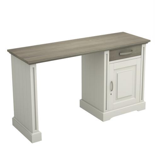 Schreibtisch weiß mit Eicheplatte