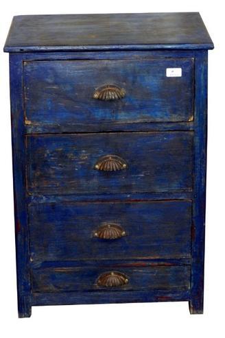 Schubladen kommode blau aus massivem holz wohnzimmer for Kommode blau