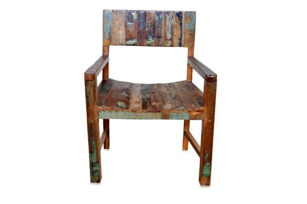Shabby Chic Stuhl Mit Armlehnen Aus Recycling Holz