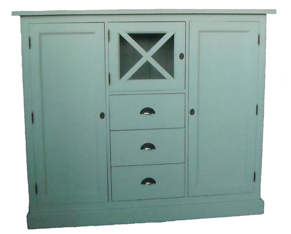 Sideboard Highboard Buffet Kommode Landhausstil Landhaus Shabby Chic weiß  massiv neu