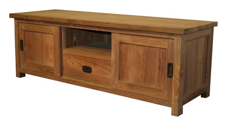 teakholz tv schrank mit schiebet ren tv sideboards kommoden sideboards bei m belhaus hamburg. Black Bedroom Furniture Sets. Home Design Ideas