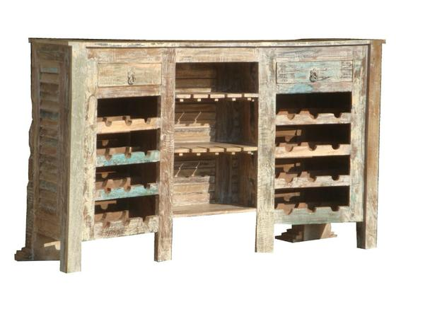 tresen aus indien vintage holz mit weinablage kommoden sideboards vintage m bel bei. Black Bedroom Furniture Sets. Home Design Ideas