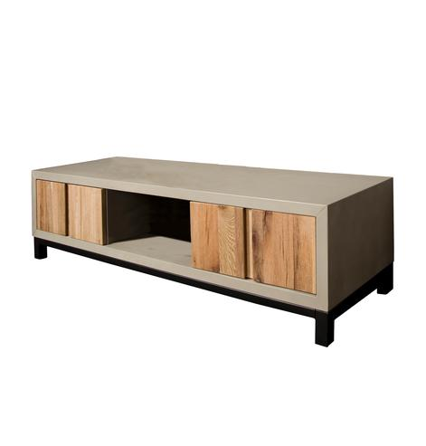 tv schrank eiche mit betonlook tv sideboards kommoden sideboards industrielle m bel bei. Black Bedroom Furniture Sets. Home Design Ideas