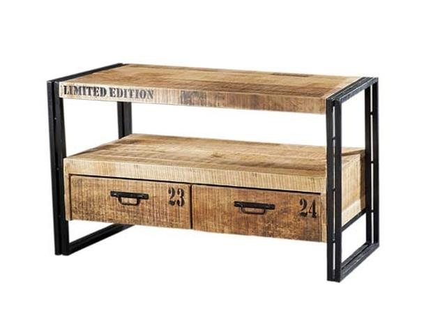 tv schrank mit 2 schubladen aus eisen und holz kommoden. Black Bedroom Furniture Sets. Home Design Ideas