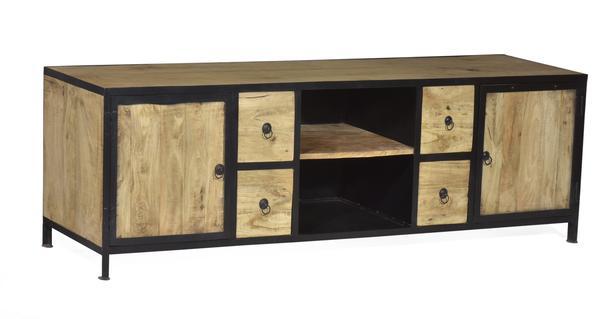 tv sideboard eisen mit holz vintage lowboard industrial chic bei m belhaus hamburg. Black Bedroom Furniture Sets. Home Design Ideas