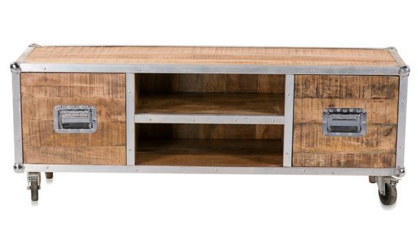 Tv Sideboard Flightcase Auf Rädern Mango Holz Industrial Sideboard