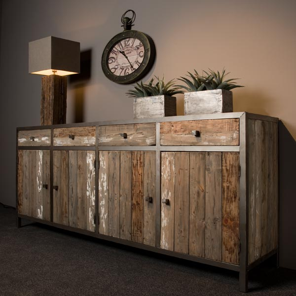 tv sideboard holz metall tv sideboards kommoden sideboards industrielle m bel bei. Black Bedroom Furniture Sets. Home Design Ideas