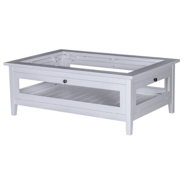 Weißer Couchtisch mit Glas - Tische - Landhaus Möbel bei Möbelhaus ...