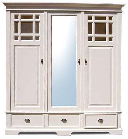 wei er kleiderschrank mit spiegel 3 t rig. Black Bedroom Furniture Sets. Home Design Ideas